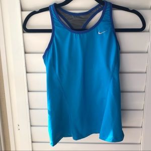 Blue Nike built in sports bra Razorback tank top